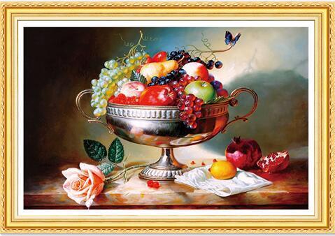 Satın Al Yeni Elmas Nakış 5d Meyve Tabağı Elmas çapraz Dikiş