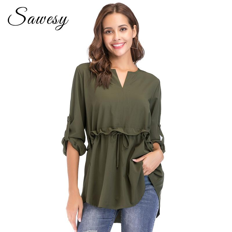 fc839c5443cf69 2019 Long Sleeve Peplum Tops Women 2018 New Arrival Green Ruffle Lace Up Women  Tops And Blouse Dating Fashion Casual Womens Shirt From Edward03