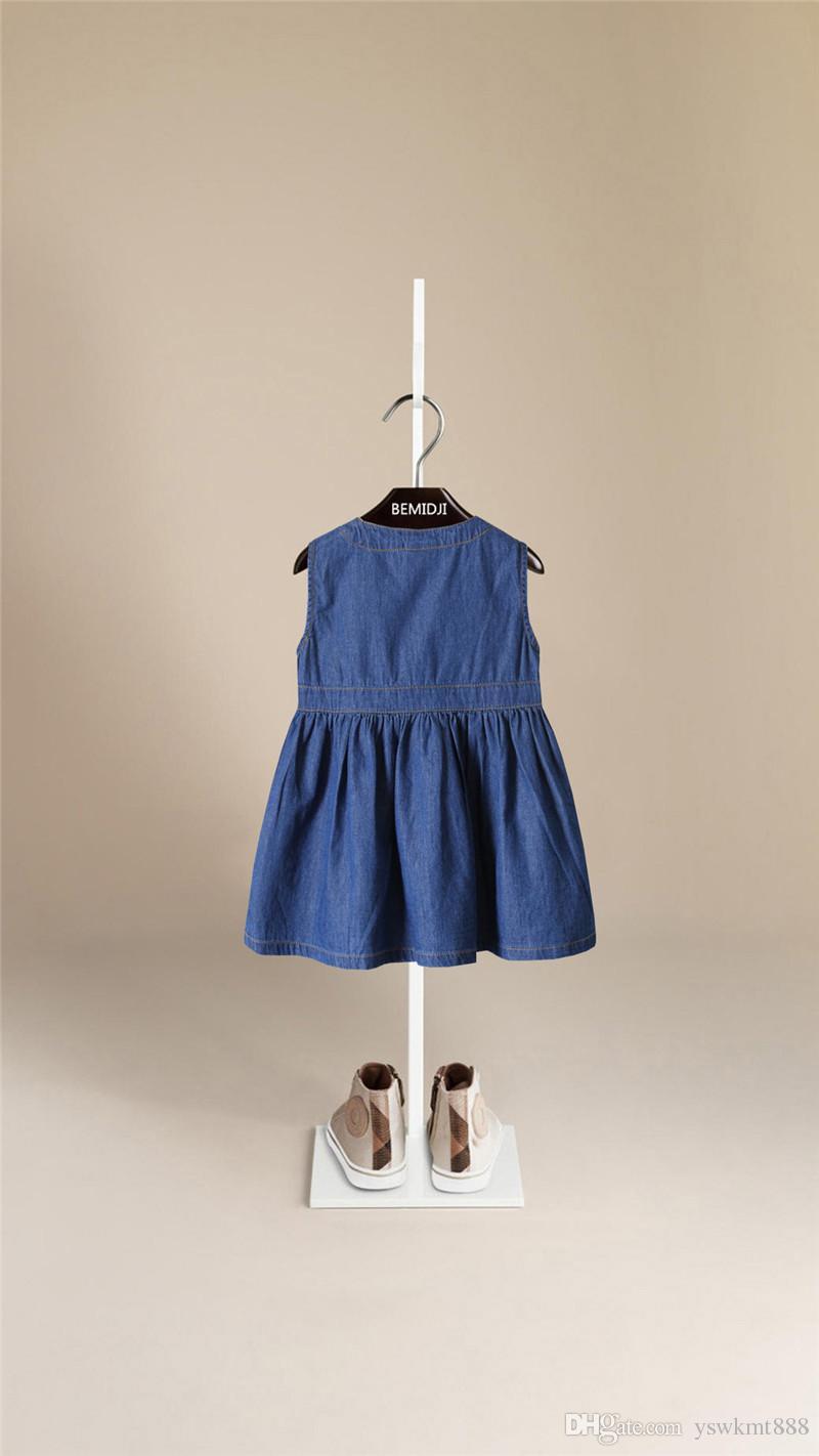 높은 품질 어린이 착용 여름 패션 공주 드레스 순수 코 튼 카우보이 민소매 조끼 어린이 드레스