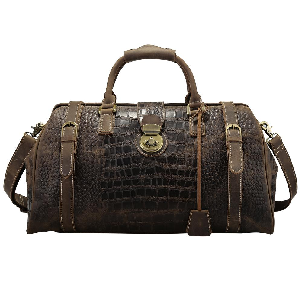 3f8c10d9ef Tiding Luxury Crocodile Cow Leather Mens Travel Bags Vintage Weekender Bag  Travel Totes Zipper Duffle Bag Travelling Luggage New Overnight Bags  Weekend Bags ...