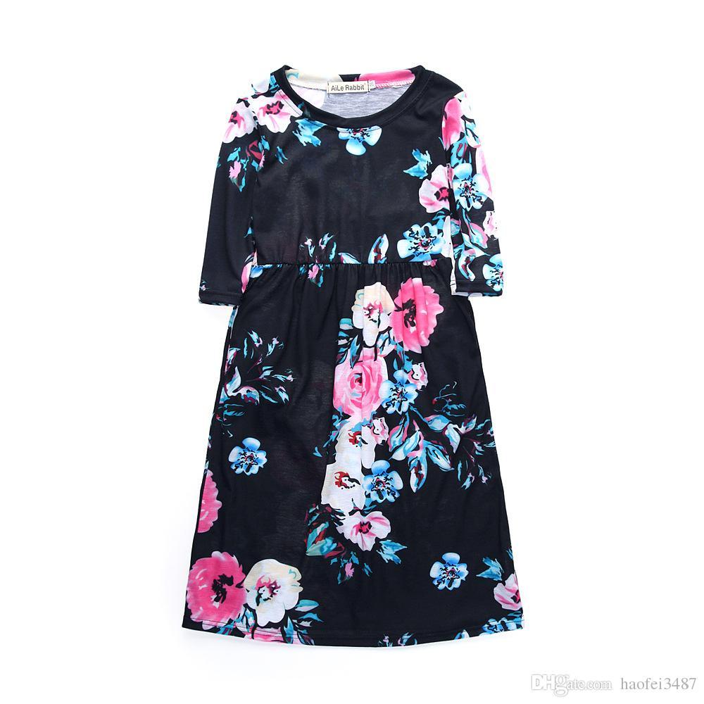 2018 filles robes automne mignon bébé filles frapper couleur robe à manches longues enfants vêtements occasionnels coton beachwear robe maxi ajustement 2-11y