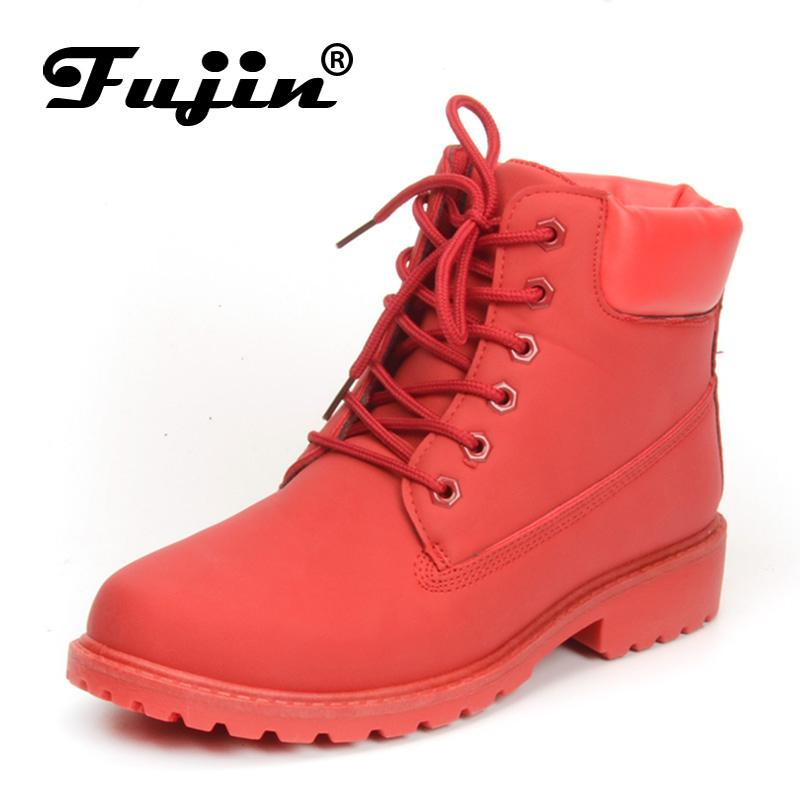 c17531983 Compre Fujin 2018 Primavera Otoño Invierno Botas Mujeres Botas De Moda Roja  Tobillo De Peluche Mujeres Calientes Zapatos De Invierno Nieve Impermeable  A ...