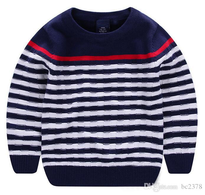 1107f40d4ab Fashion Kids Sweaters Small Striped Pullover Autumn Style Choice Good Shape  100%Knitted Cotton Anti Pilling Sweater Patterns Boys Sweater Pattern From  ...