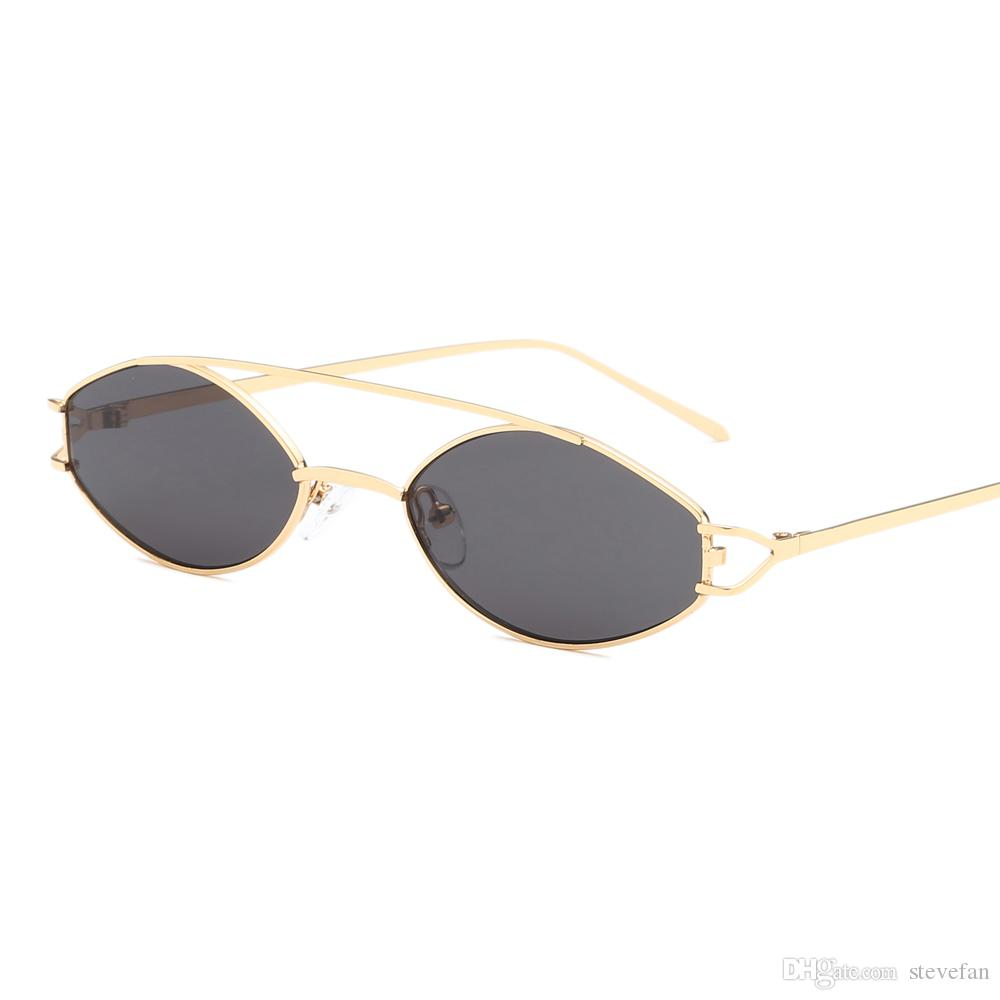 Vintage Tiny Sunglasses for Women Oval 2019 Silver Gold Frame Metal ... 65beb43c37