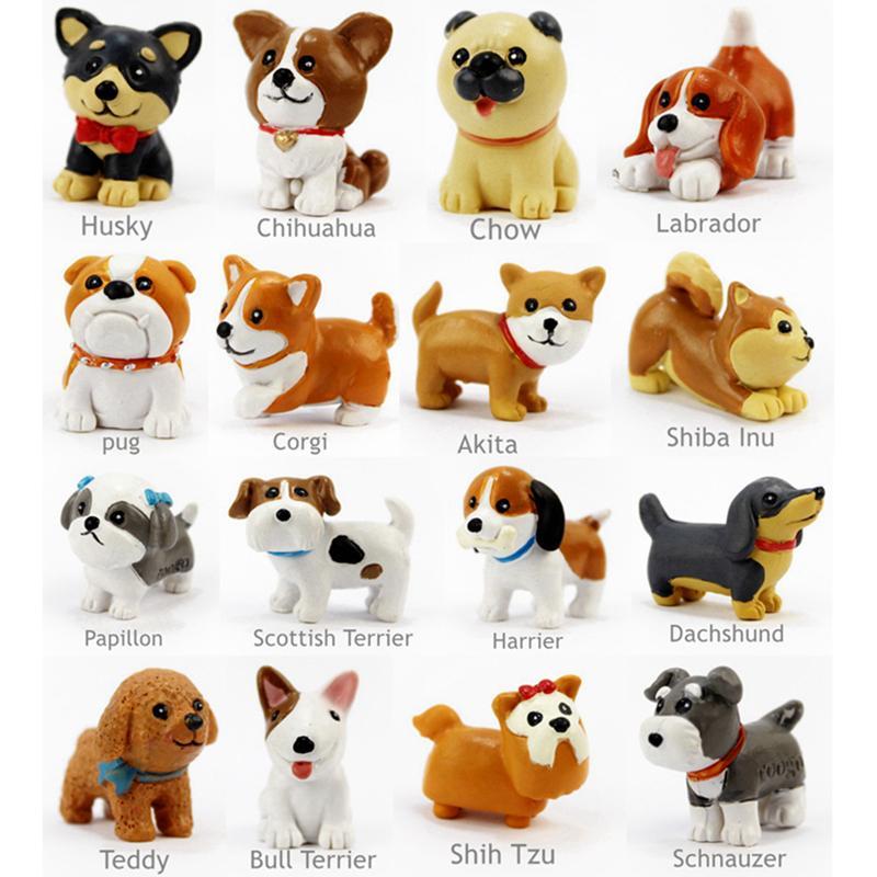 Compre 16 Unids Set Kawaii Resina Perrito Miniatura Mini Perros De