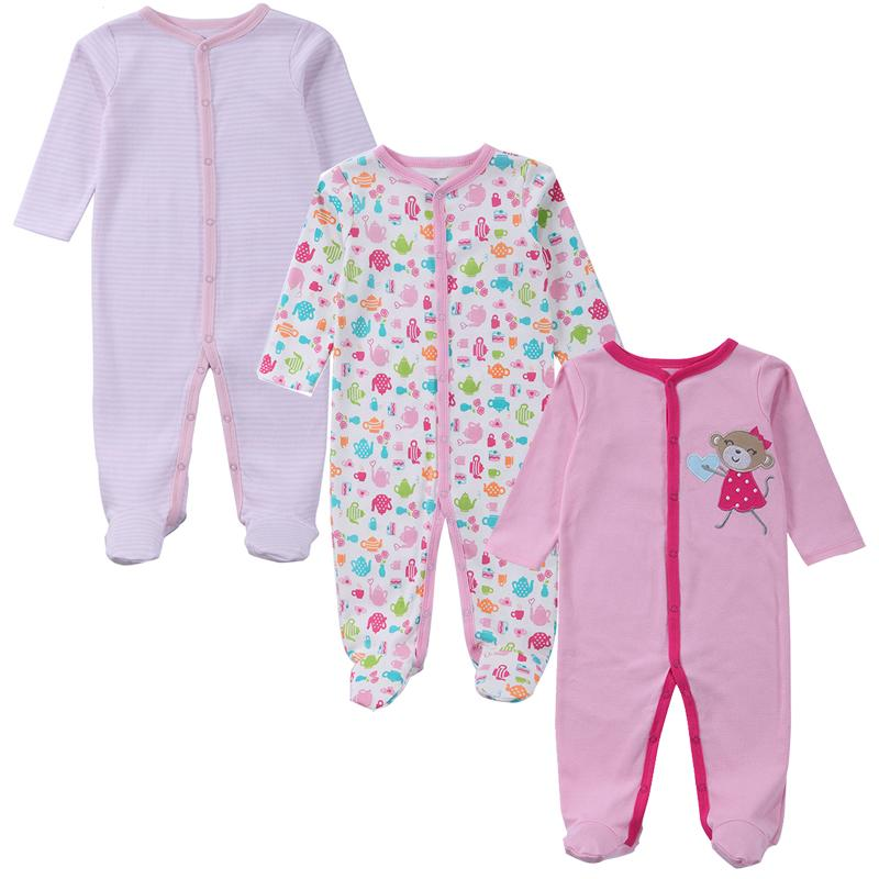 4ba3b4cf253c Baby Romper Long Sleeves 100% Cotton Baby Pajamas Cartoon Printed ...