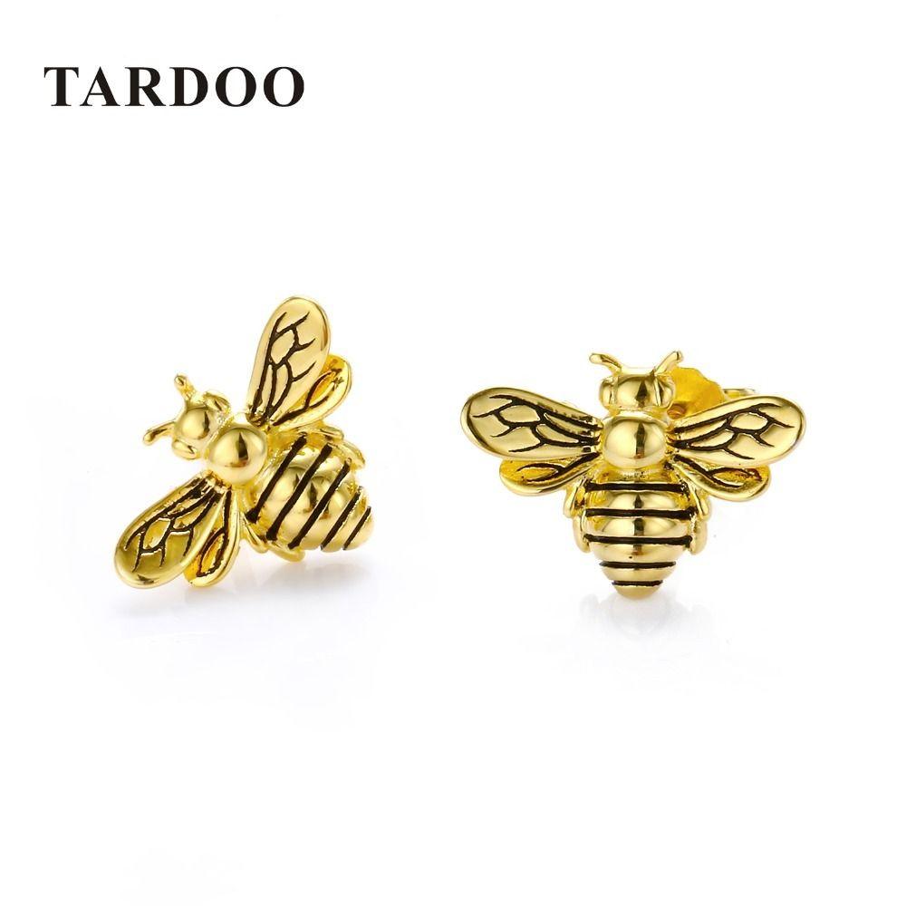 ac3e4310e 2019 Tardoo Gold Bee Stud Earrings 925 Silver Women Cute Bee Earring  Fashion Jewelry Black Stripe Gold Honey Bee Animal Stud Earring Y18110110  From Gou10, ...