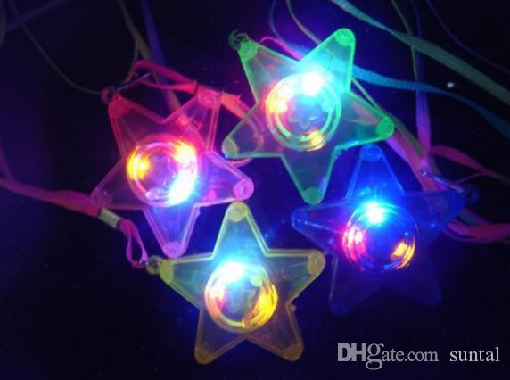 300шт светодиодов светящийся маленькая звезда ожерелье мигающий висит светло-до игрушки Дети день рождения партия выступает Бесплатная доставка DHL