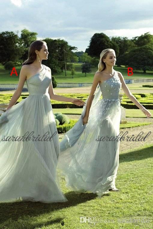 chiffon Vestidos dama de honra A-Line mangas um ombro baratos de convidados do casamento de trem Wear varredura extra formal de honra Vestidos