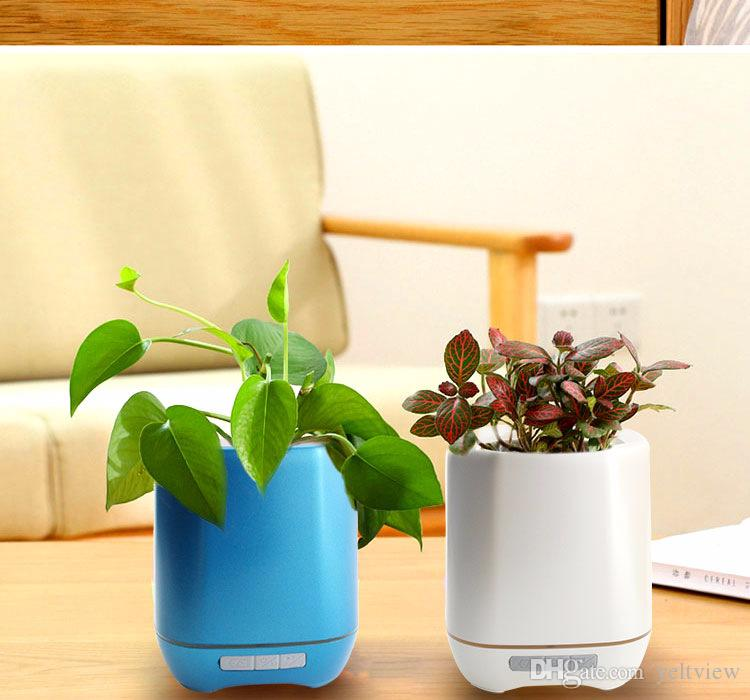 2018 el más nuevo Smart Wireless Music Flower Poter Bluetooth Speaker Florero Touch inteligente Plant Piano Music speaker con colorido LED Night Light