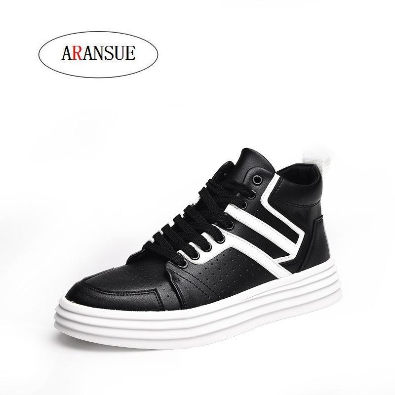 ARANSUE 2018 neue Herbst koreanische Version des Trend Hip Hop High Gang Schuhe Mann Sport und Freizeit Schuhe Englisch White