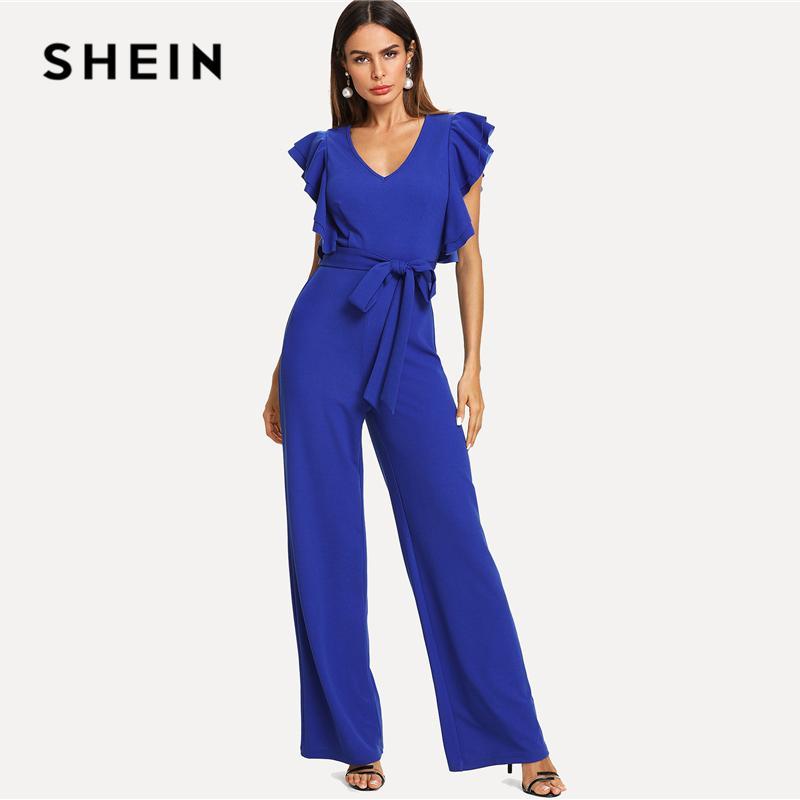 675e91977d 2019 SHEIN Blue EleWorkwear Ruffle Trim Tie Waist Wide Leg V Neck ...