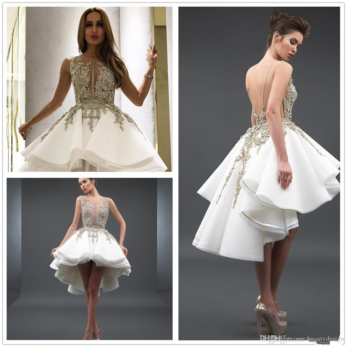fda2890a9a9 2018 Sheer Crew Organza A Line High Low Cocktail Dresses Lace Applique  Beaded Backless Short Party Evening Dresses Ivory Cocktail Dresses Long  Sleeved ...