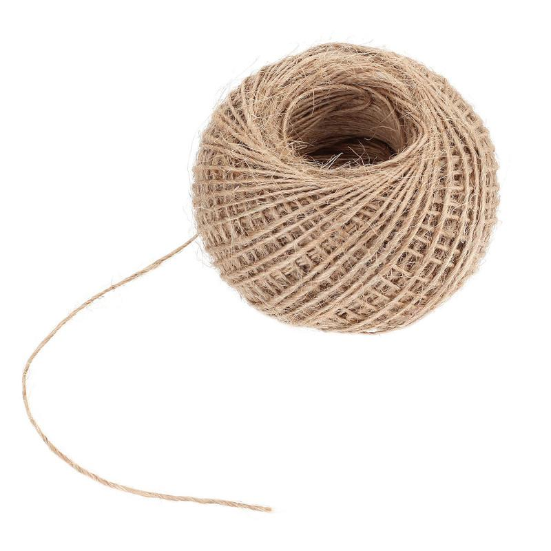100m Natural Burlap Hessian Jute Twine Cord Rope String 2mm Rustic Wrap  Gift Packing String Wedding Decoration