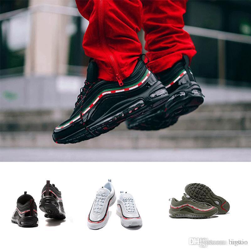 2018 97 Schuhe Triple weiß schwarz pink Laufschuhe Og Metallic Gold Silber Bullet Herren Trainer Damen Sportschuhe Turnschuhe Größe 36 45