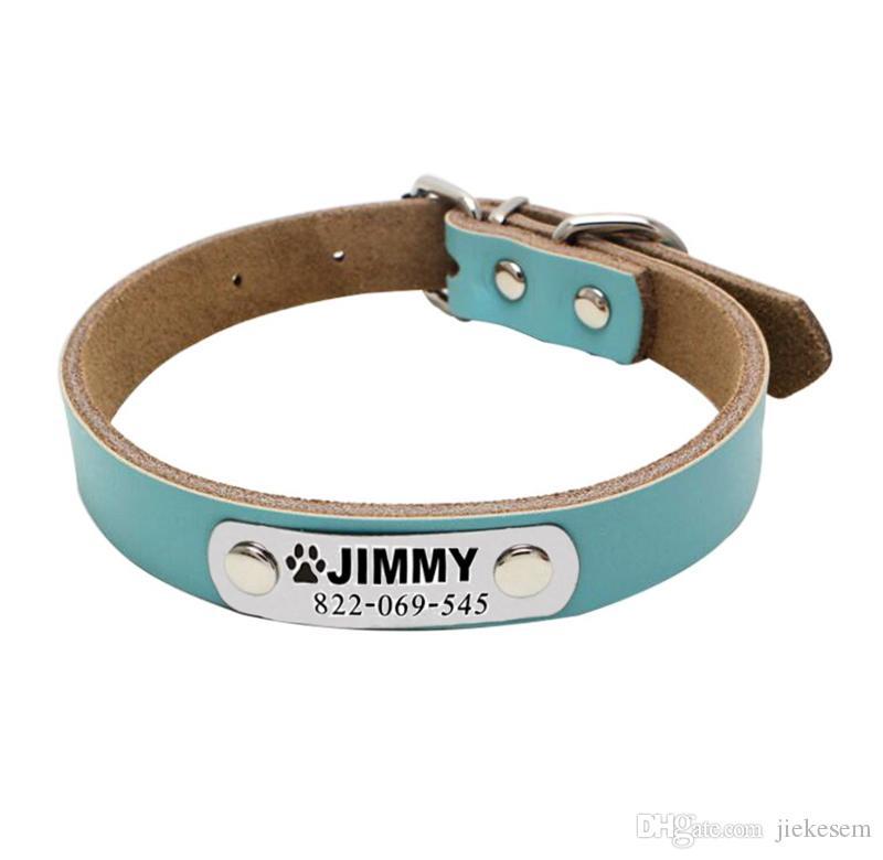 48b76e94e389 Compre Custome Collar De Perro Grabado Personalizado Collar De Cuero  Personalizado Collar Grabado Gato Nombre De Mascota Nombre De Teléfono  Etiquetas Collar ...