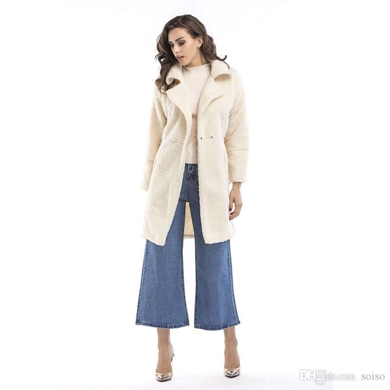 Inverno pelliccia di pelliccia delle donne lungo peluche a maniche lunghe giacca a maniche lunghe chic caldo cappotto di pelliccia di lusso risvolto