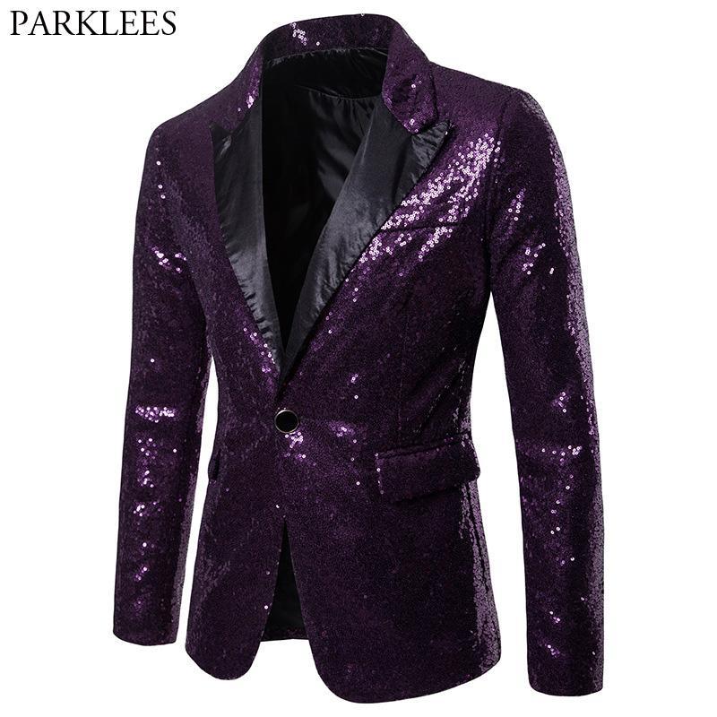 Sequin Acheter Blazer Un Veste Bouton Violet 2018 Brand New Hommes qqp56x