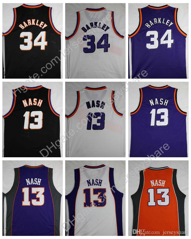 Best Quality 34 Charles Barkley Jersey 13 Steve Nash Jersey Stitched Purple  Black White Mens College Charles Barkley Basketball Jerseys Charles Barkley  ... ed82b11e2