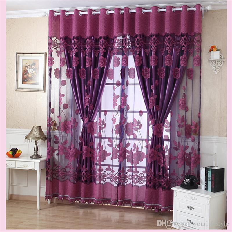 2019 Flower Valance Blackout Curtains Home Decor Curtains Tiers For  Basement Grommet Stylish Flower Tulle Door Window Curtain Drape Panel Sheer  From ...