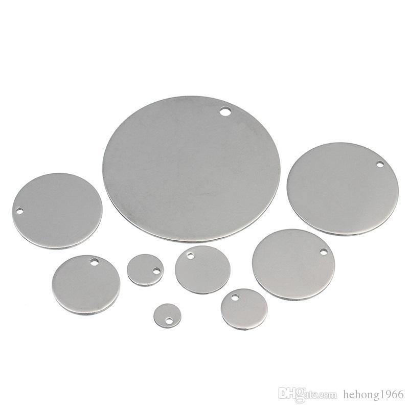 Aço inoxidável Pingente de Prata Rodada Stamping Cão ID Tag Fazer Componente Suave Descoloração Suprimentos Para Animais de Estimação Com Furo 27ls8 V