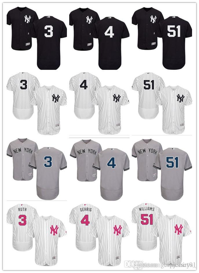 new concept 6258e bf6ea 2018 custom Men women youth NY Yankees Jersey #3 Babe Ruth 4 Lou Gehrig 51  Bernie Williams Home Black White Grey Baseball Jerseys