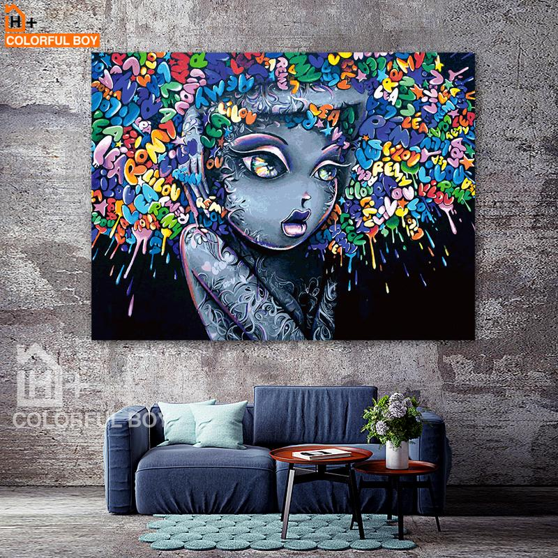 COLORFULBOY Modern Creative Abstract Girl Graffiti Canvas Painting ...