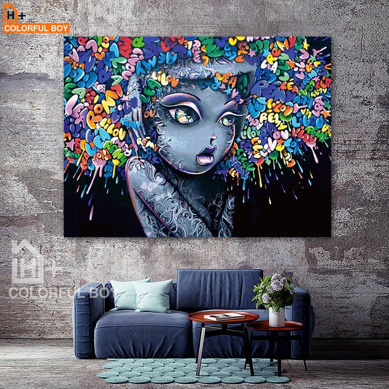 Satın Al Colorfulboy Modern Yaratıcı Soyut Kız Graffiti Tuval Boyama