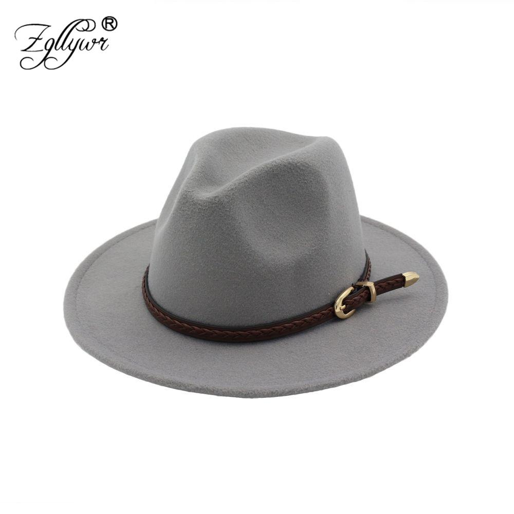 Zgllywr Fedora Hats for Women Men Autumn Winter Wool Felt Belt Buckle Brim  Wide Vintage Trilby Flat Bowler Femme Fedoras Cheap Fedoras Zgllywr Fedora  Hats ... f37bb95c926e