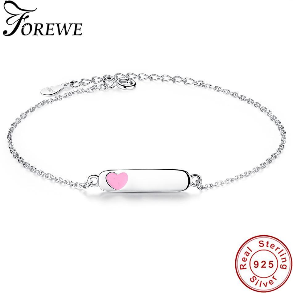 d8c3855fc107ca 2019 Free Custom Engraved Name Bracelet Personalized Jewelry 925 Sterling  Silver Enamel Heart Bracelets & Bangles For Women Children From Redjune, ...