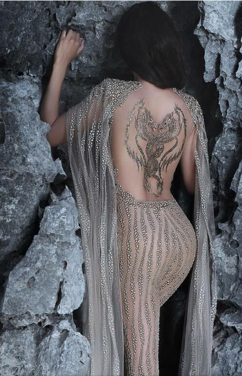 Evening dresses Charbel zoe Cape Crystals V-Neck Puffy sleeve Jumpsuit 2017 Yousef aljasmi Long dress Zuhair murad Labour joisie
