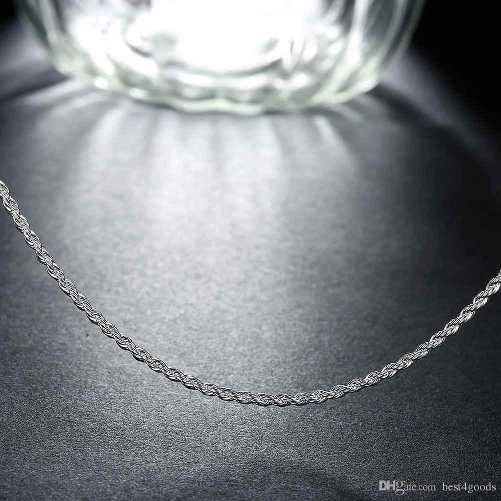 Top Quality 925 Sterling Silver Men Women Twist ROPE Chain Necklaces 2MM 16inch/18inch/20inch/22inch/24inch/26inch/28inch/30inch