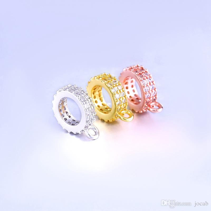 Zircon Gemstone Micro Pave Tube Bracelet Connector Bail Necklace Jewelry Finding