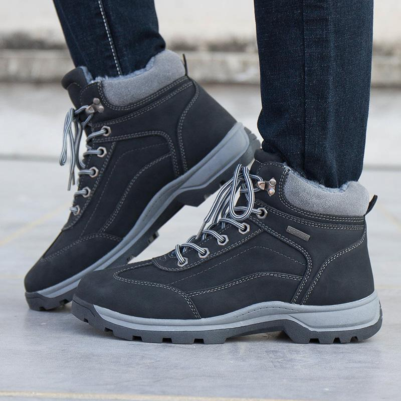f219018718 High Quality Mens Warm Casual Ankle Boots Work Hiking Shoes Winter Snow  Boots For Men Waterproof Outdoor Leather Plush Fur Fashion US 6.5 12 Cheap  Boots ...