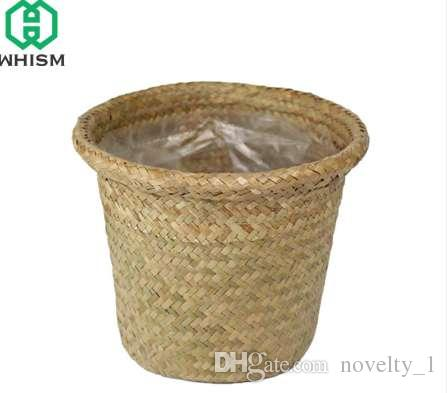 2018 Whism Sea Grass Storage Basket Straw Garden Flower Pot Handmade  Sundries Organizer Rattan Plant Box Wicker Basket Nursery Pots From  Novelty_1, ...
