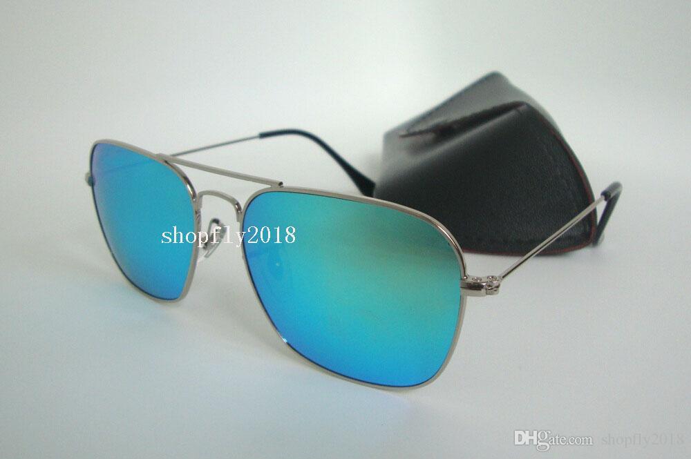 Rectangle Sunglasses For Mens Womens Metal CARAVAN Sun Glasses Eyewear Gold Blue 58mm Glass Flash Mirror Lenses With Black Case