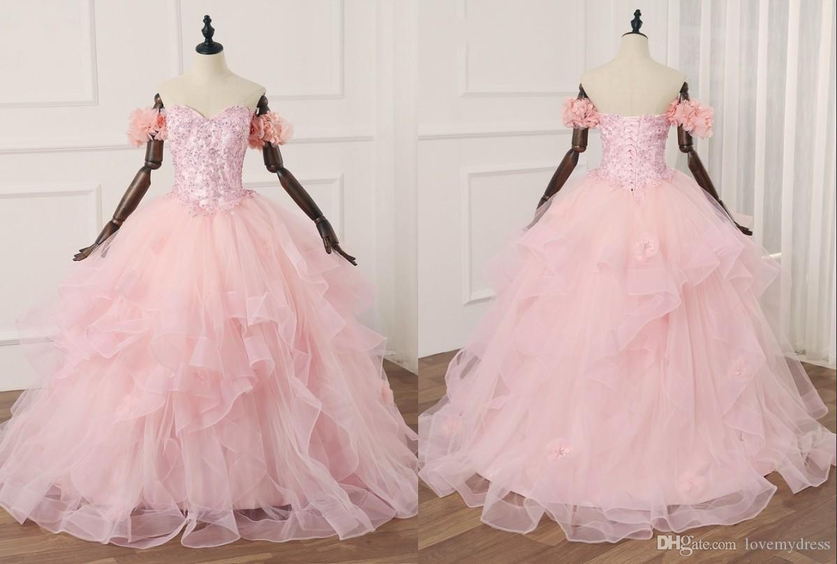 6db1bdaf614 Romantic Flowers Blush Quinceanera Prom Dresses Ball Gown Off The Shoulder  Tulle Applique Sequins New Style Cheap Formal Gowns Sweet 16 Tulle  Quinceanera ...