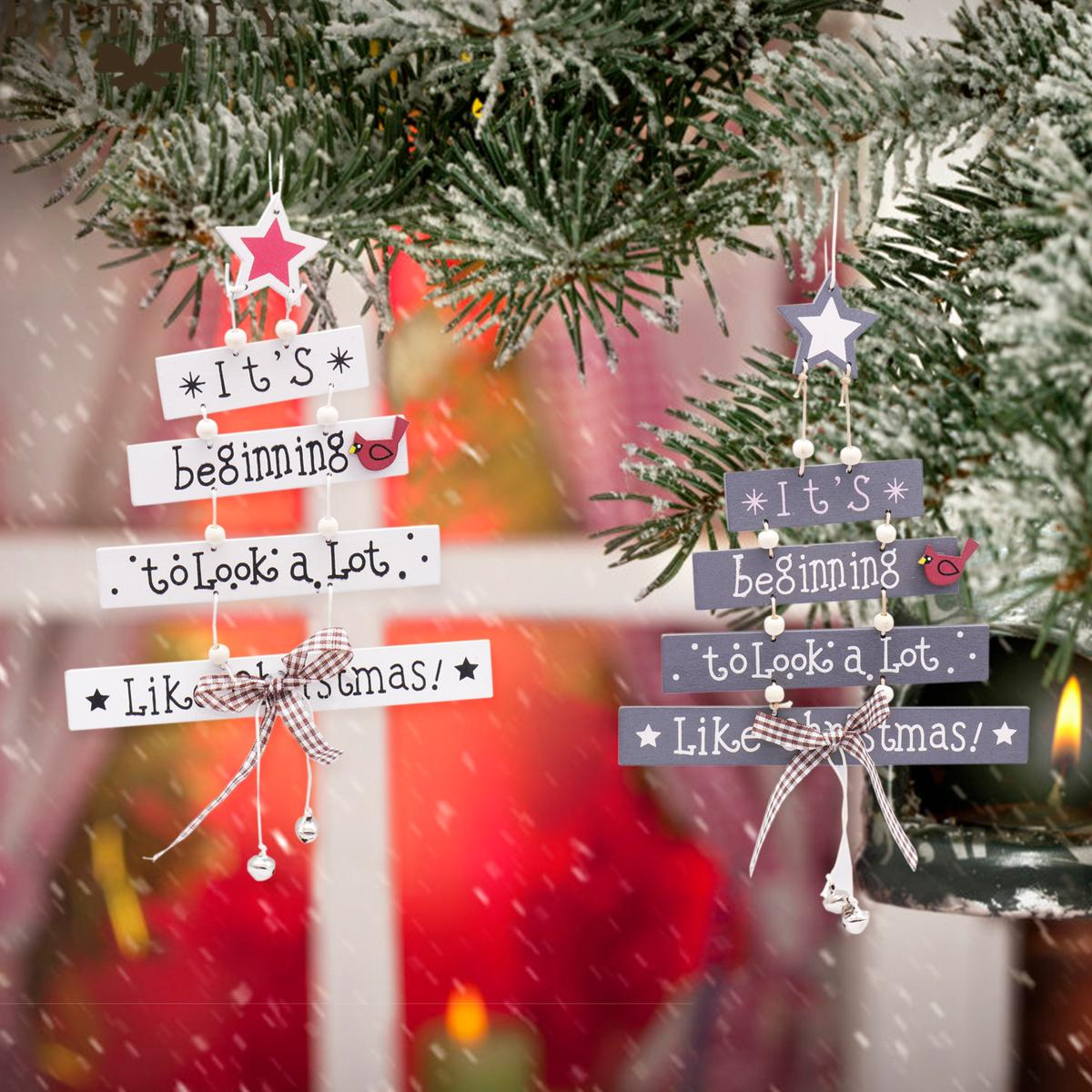 7eb5cef558b Compre 17x25 Cm De Madera Del Árbol De Navidad Feliz Navidad Colgantes De Madera  Decoraciones Casa DIY Adorno Vitrina Colgantes Árbol De Navidad Decoración  ...
