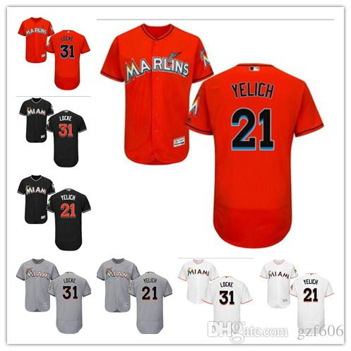 the latest 64aa4 e5298 custom Men s women youth Miami Marlins Jersey #21 Christian Yelich 31 Jeff  Locke Orange Grey White Baseball Jerseys