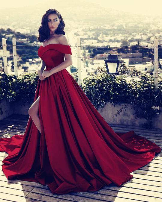 c5af50239 Compre Sexy Cuello En V Fuera Del Hombro Vestido De Fiesta Largo De Satén  2018 Vestidos De Noche Partidos Vestidos De Baile A  115.03 Del ...