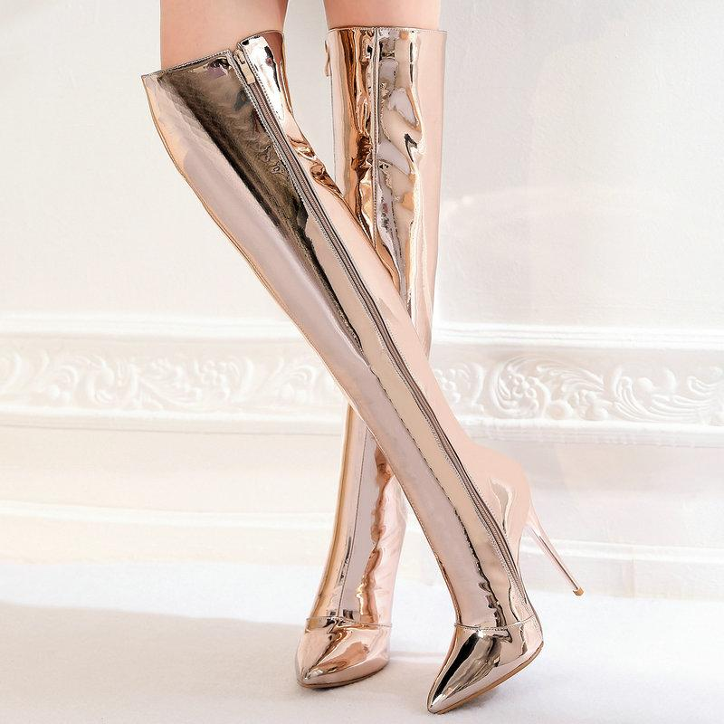 34a44108563 Gold Silver Women Fashion Patent Leather Knee High Boots Sexy Thin High  Heels Long Boots Pointed Toe Zipper Winter Warm Shoes