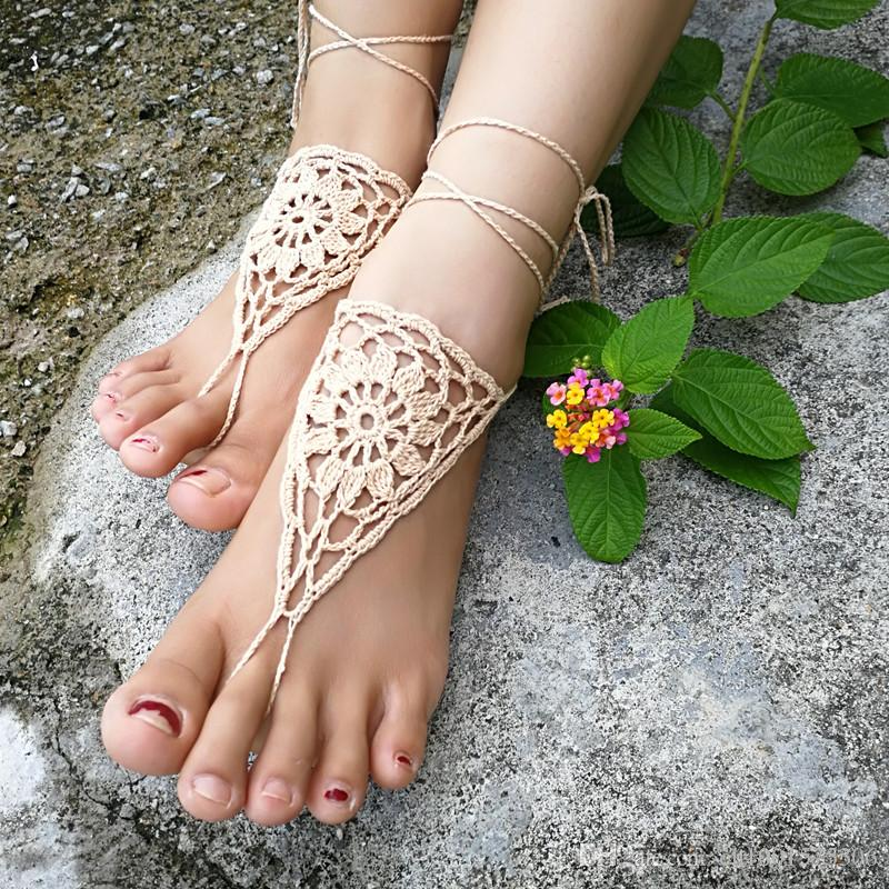 Beach wedding White Crochet Shoes Bridal Sexy Barefoot Sandals Yoga women shoes, yoga nude shoes, belly dance , anklet jewelry.