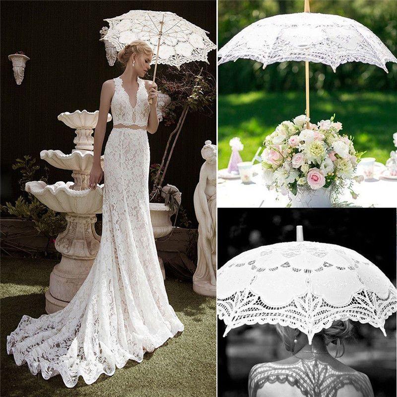 3f67f7d99c69 Solid lace parasols Bridal wedding umbrellas women Vintage Embroidery  Handmade For Bridal Wedding Decor Photoprops tools FFA405 30PCS