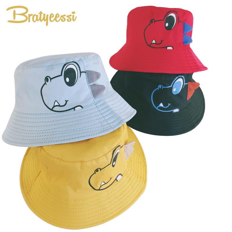 b2718be8c5d 2019 Dinosaur Baby Hat Cotton Double Sided Bucket Hat Baby Spring Autumn Cap  Kids Hats Toddler Accessories From Humom