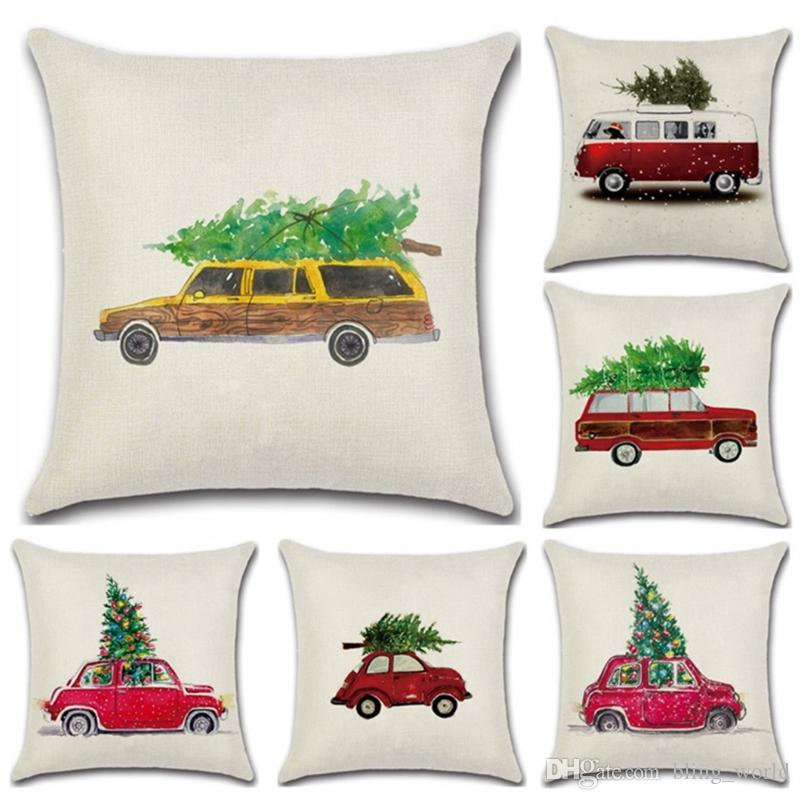 christmas pillow covers the car carries linen pillowcase christmas tree pillow case decorative pillows cases sofa seat home decor yw1414 christmas pillow - Cheap Christmas Pillows