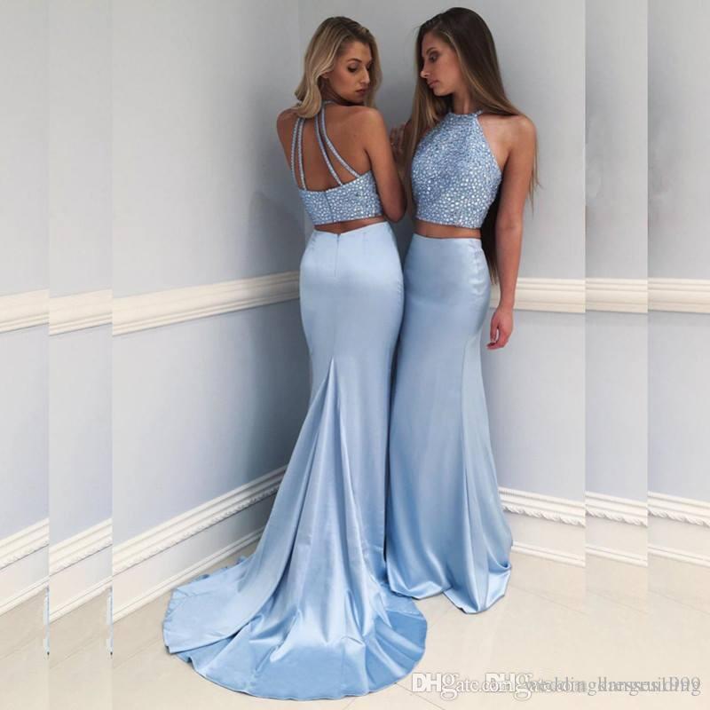 83e9f28fc Compre Nuevos Vestidos De Fiesta Azul Cielo De Baile De Dos Piezas 2018  Apliques De Encaje De Sirena Vestidos De Fiesta De Noche De Tren De Barrido  Con ...
