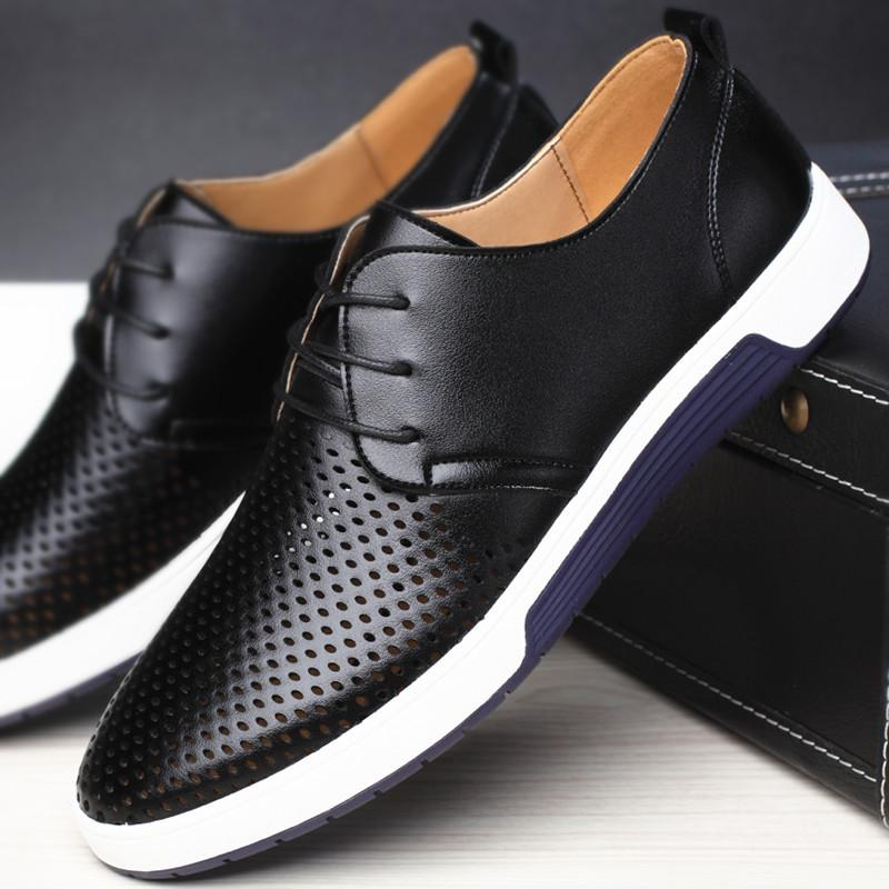 New Dress Shoes 2018 Men Woman Casual Shoes Leather Summer Breathable Holes Luxury Brand Sports Shoes for Men Drop box Shipping outlet fashionable Ydx5hAez
