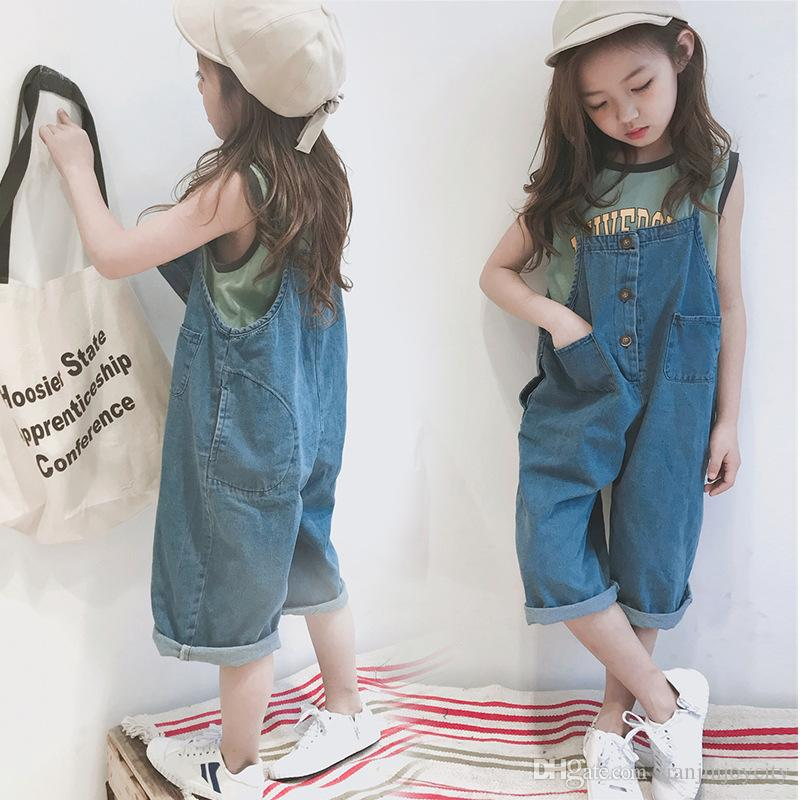 cd616774f983 2018 Summer New Children Jean Overalls Baby Kids Denim Suspender Trouser  Two Sides Could Wear Casual Loose Pant For Toddler Navy Suspenders For Boys  ...