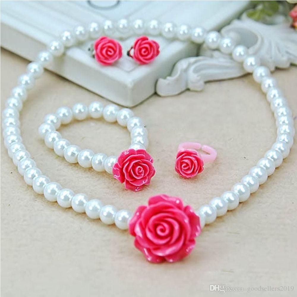 Fashion Jewelry Imitation Necklace Bracelet Ring Ear Clips Set Pearls Kids Girls Child Flower Shape