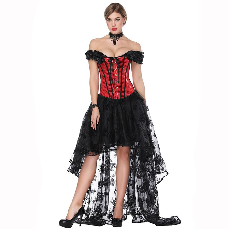 cf6189e1f7df3 2019 Vintage Red Sequined Off Sholder Overbust Corset Lace Gothic Skirt Set  Burlesque Women Costume Steampunk Clothing From Honhui
